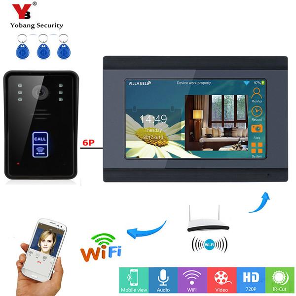 Yobang Segurança APP Controle RFID Acesso Camera Cartão SD 7 polegadas Monitor Wifi vídeo sem fio Intercom Doorbell Porta Phone System