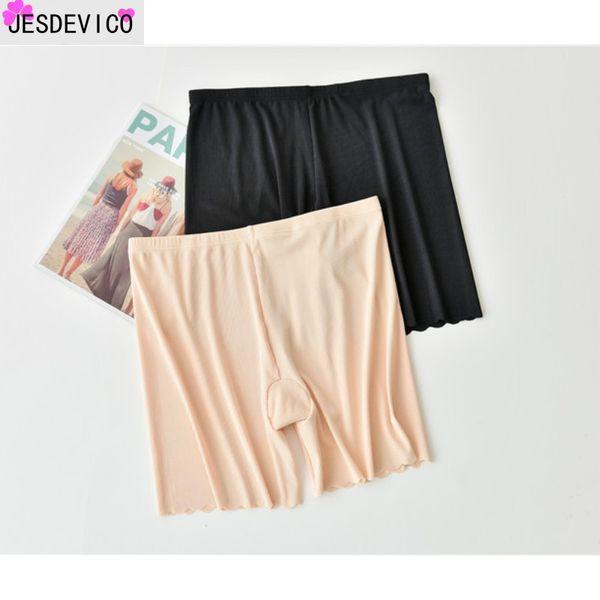 2019 Nuevo Sexy Plus Size XL 2XL 3XL Pantalones cortos para mujer Pantalones cortos de algodón para mujer Boxer Ropa interior para mujer Pantalones cortos grandes Grandes Negro Caqui