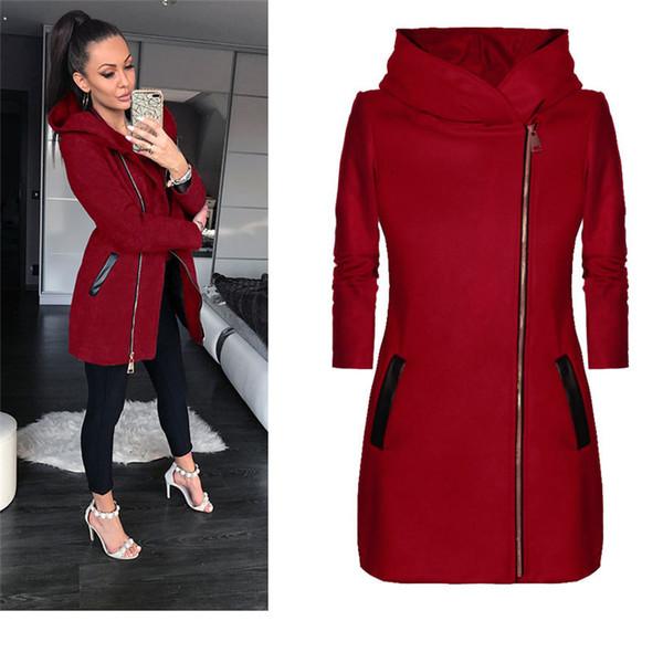 Otoño abrigo de invierno para las mujeres diario hot flash collar más tamaño mujer chaqueta con capucha bolsillos cuello alto tops
