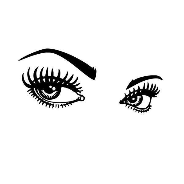Heißer Verkauf Augenumriss Wandaufkleber Dekorative Schönheitssalon Wandtattoos Vinyl Abnehmbare Wimpern Make-Up Tapete Wohnkultur