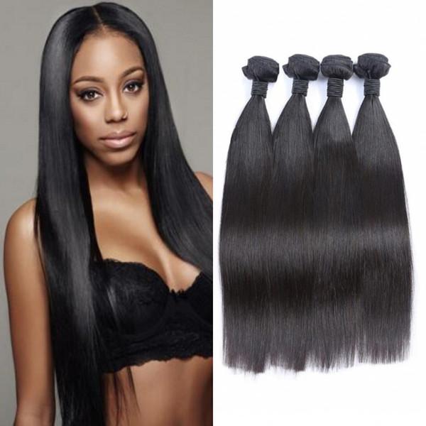 4 pcs faisceaux de cheveux raides brésiliens 100% extensions de cheveux humains couleur naturelle trame de cheveux 4-30 pouces G-EASY