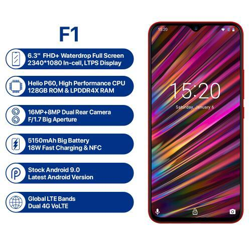 "UMIDIGI F1 6.3"" Waterdrop FHD+ Display Helio P60 Android 9.0 4GB RAM 128GB ROM 5150mAh 18W Fast Charge Smartphone NFC 16MP Phone"