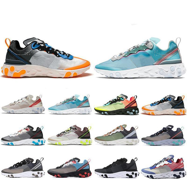 2019 Spring React Element 87 Running Shoes For Men Women Sail Royal Tint Anthracite Volt Racer Pink Mens Trainer Sports Sneakers 36-45