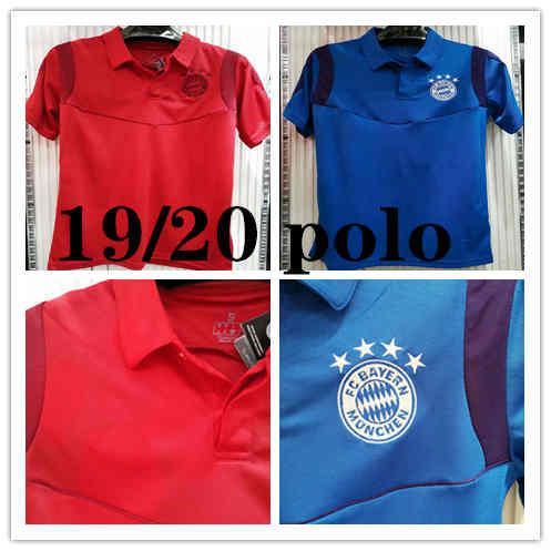 19-20 Bayern Munique Polo Camisas De Futebol 19/20 Bayern Azul Vermelho futebol Curto manga Polo Futebol Uniformes Esporte Camisa de Vendas