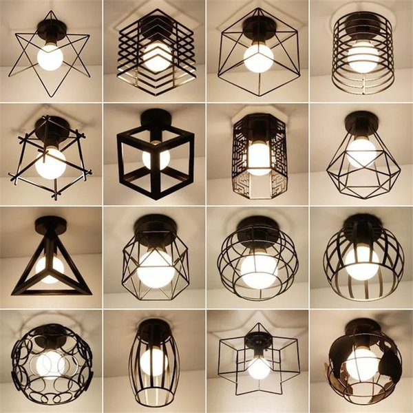 Vintage Industrial Ceiling Lights Led Ceiling Lamp Nordic Creative Loft Iron Cage Light Fixtures living room hanging light