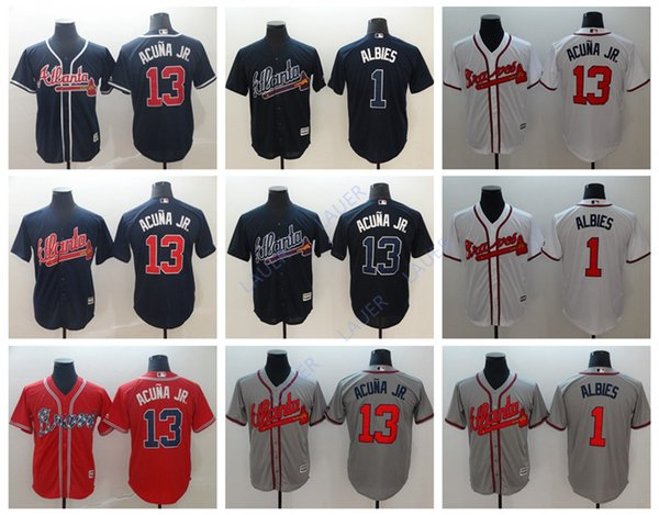 sports shoes 5f5ae 9f73a 2019 2019 Men Atlanta 13 Ronald Acuna Jr. Braves Jersey Sabanero Soy 1  Ozzie Albies Stitched Baseball Jerseys From Lauer, $18.98 | DHgate.Com