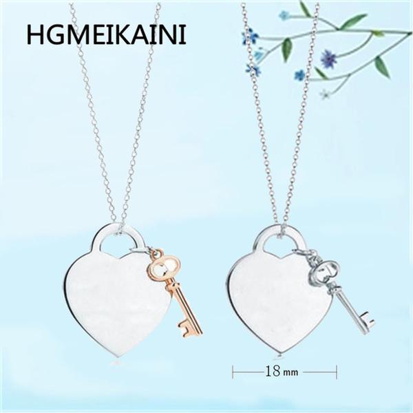 925 ayar gümüş kolye kalp anahtar kolye, klasik formu, stil ve cömert, zarif lüks, ms benzersiz takı