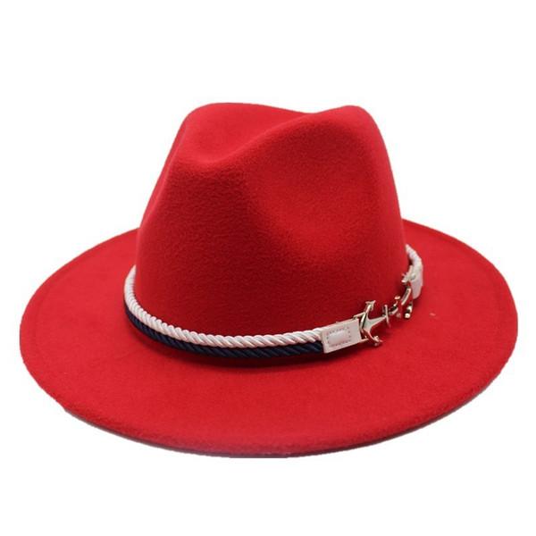 Seioum Spring Wide Brim Fedora Men Women Vintage Jazz Hats Fashion Stars Wool felt hat Unisex red Felt Bowler Trilby D19011103