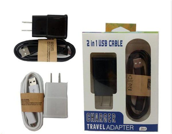 Micro USB Data Cable 2 in 1 US EU Wall Charger 5V 2A Kits Travel Adapter with Retail Package For Mobile Phone