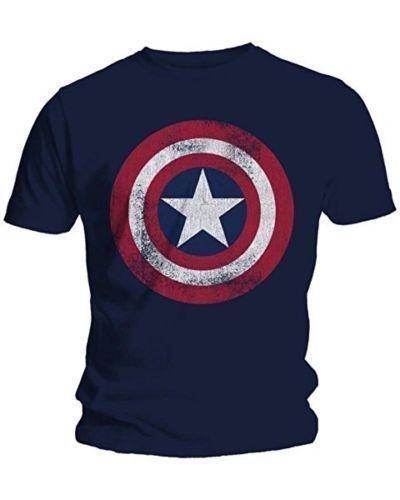 2019 Moda Erkekler T-Shirt Kaptan Amerika Sıkıntılı Kalkan Logosu Marvel Comics Yetişkin Gömlek M-2XL Pamuk T-Shirt # 392378