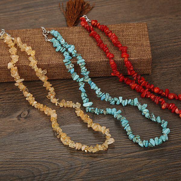 Colar de cascalho irregular para menina bonito moderno moda jóias colares energia chakra esmagado contas de pedra colar de pedra natural