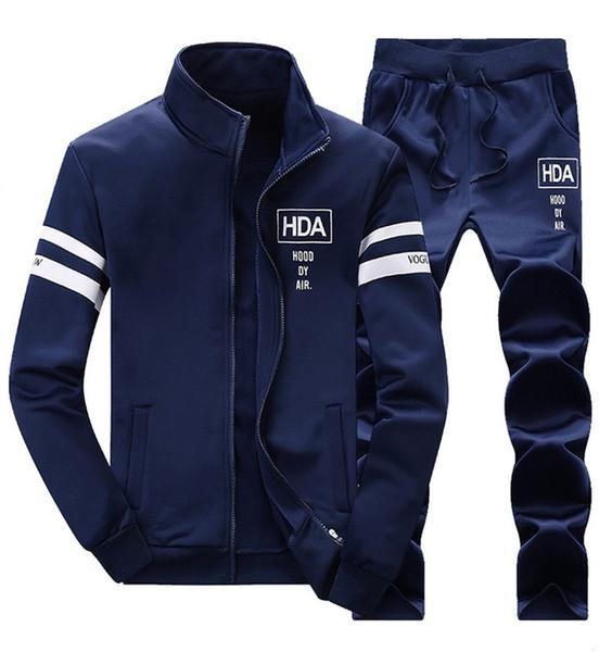 2019 Novo Mens Treino Outwear Set 2 peças Outono esportivo faixa terno masculino Aptidão Gola Camisolas Jaqueta + Calças Conjuntos T3