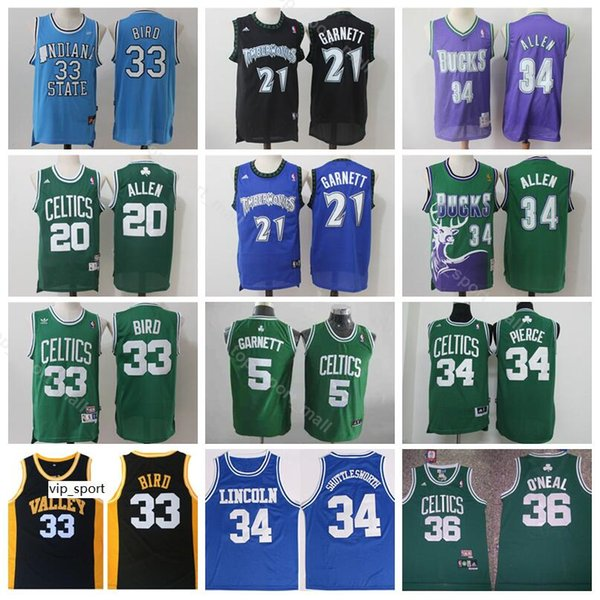 online store fee94 6ca73 2019 Boston Basketball Kevin Garnett Jerseys 21 Ray Allen 20 Larry Bird 33  Jesus Shuttlesworth 34 Paul Pierce Green White Vintage Men Black From ...