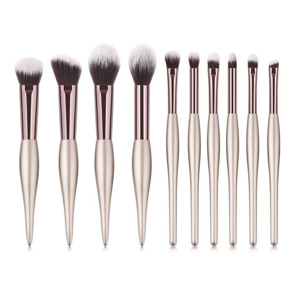 Luxury Champagne Makeup Brushes Set For Foundation Powder Blush Eyeshadow Concealer Large Make Up Brush Cosmetics Beauty Tool 10