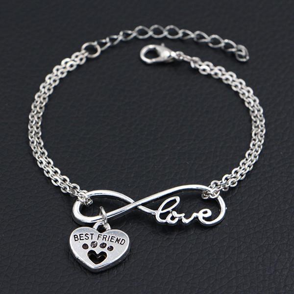 Silver Double Infinity Love Pets Cats Dogs Paw Best Friend Animal Heart Pendant Charm Bracelets Bangles For Women Men Chain Fine Diy Jewelry