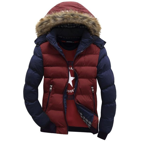 Wholesale- 6 Color Contrast Color Hooded Design Men Parka Size M-3XL Casual Slim Fit Men's Winter Jacket Stand Collar Thick Man Down Ja