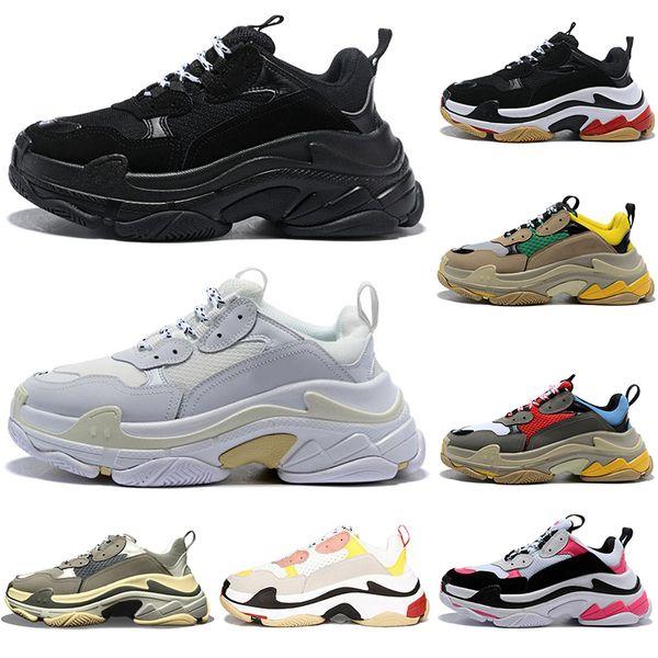 2020 Triple S sapatos de designer casuais para homens mulheres sapatilhas pares 17FW preto branco homens rosa formadores vermelhas plataforma de moda pai aumentando