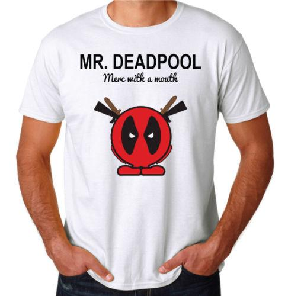 Deadpool Mister Mr Merc With A Mouth Funny Comedy Movie Superhero Mens T-Shirt Tees Shirt Men Boy Rock Custom Short Sleeve Valentine's