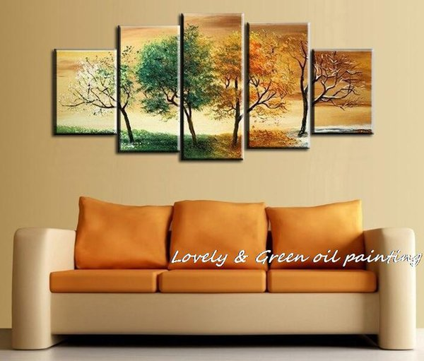High Quality Hand Painted 4 Season Tree Oil Painting White Green Red Landscape 5 Pcs Canvas Wall Art Set Modern Abstract Picture