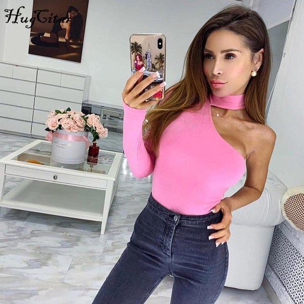 pink bodysuit one shoulder