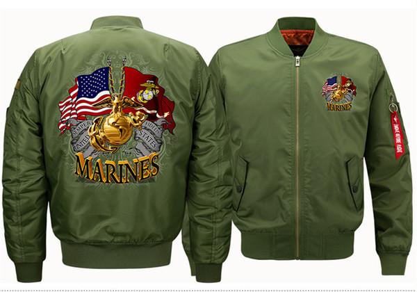 MARINES Print Ribbons Jacket Sport Flight Stand Collar Suit Mens Plus Size Casual Wear Designer Men Jacket