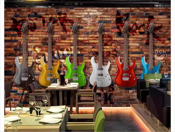 Custom 3d photo murals wall paper home decor European and American retro electric guitar brick wall bar KTV mural background wall
