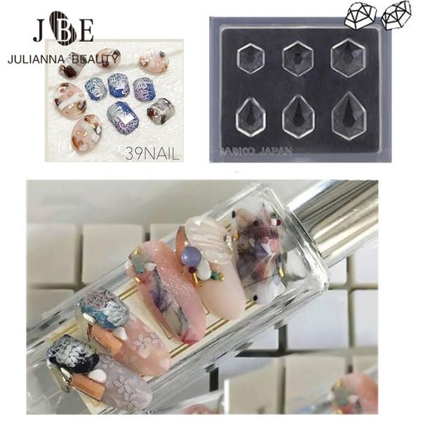 8 Unids Acrílico Nail Ball Mold Silicona 3D Acrílico Nail Moldes Gema Patrón de Moda Para UV Gel Manicure Salon Gemstone Nail Art Tool