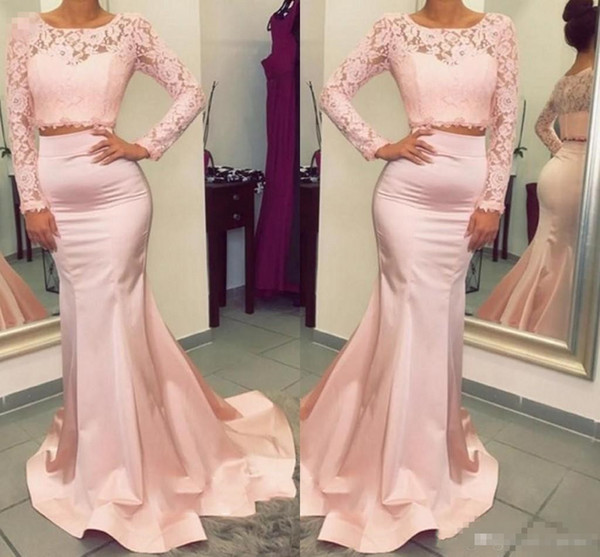 Newest Design Gorgeous Long Sleeve Lace Prom Dress Two Pieces Mermaid Evening Gowns Special Occasion Dresses Jewel Ruffles Exposed Boning