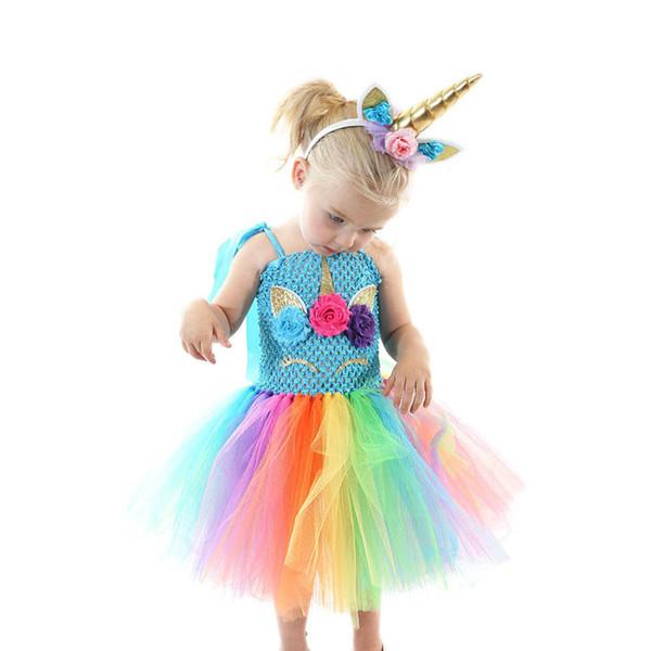 Unicorn girls dresses rainbow kids Tutu Dress birthday party Pettiskirt girl dress+headband Kids Designer Clothes Girls princess dress A4650
