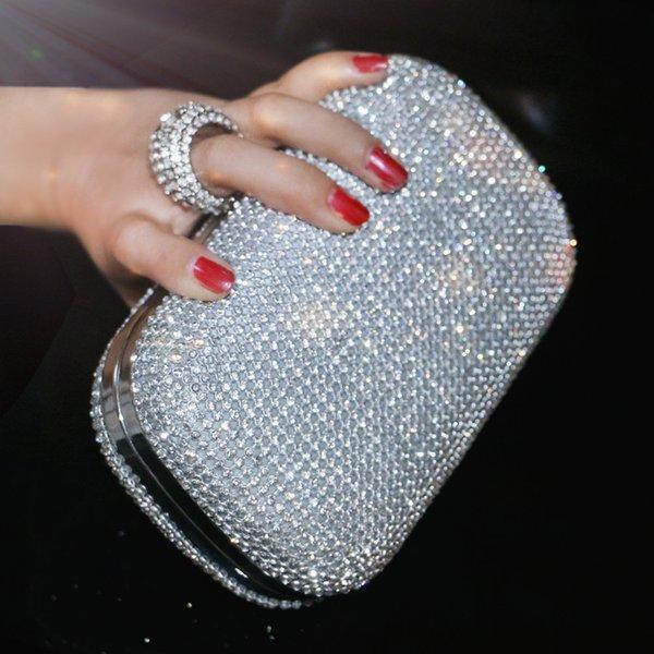Bolsos de embrague de la tarde Bolso de noche con diamantes y bolso de hombro con cadena Bolsos de las mujeres Carteras Bolso de noche para la boda