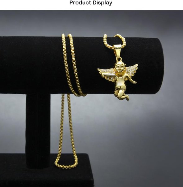Hot Europe and America Men's Hip Hop Angel Necklace with Diamond Wings Angels Hip Hop Pendant