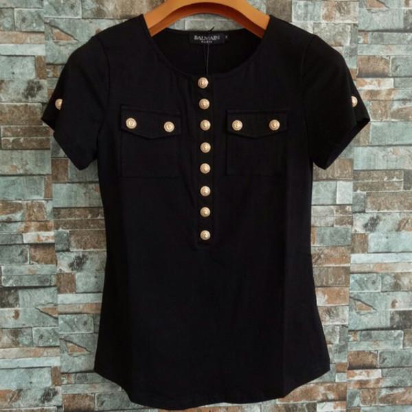 Balmain Womens Camisetas Balmain de Alta Qualidade Botões Mulheres Camisas Tops de Luxo Das Mulheres Designer de Roupas Tees Tamanho S-L