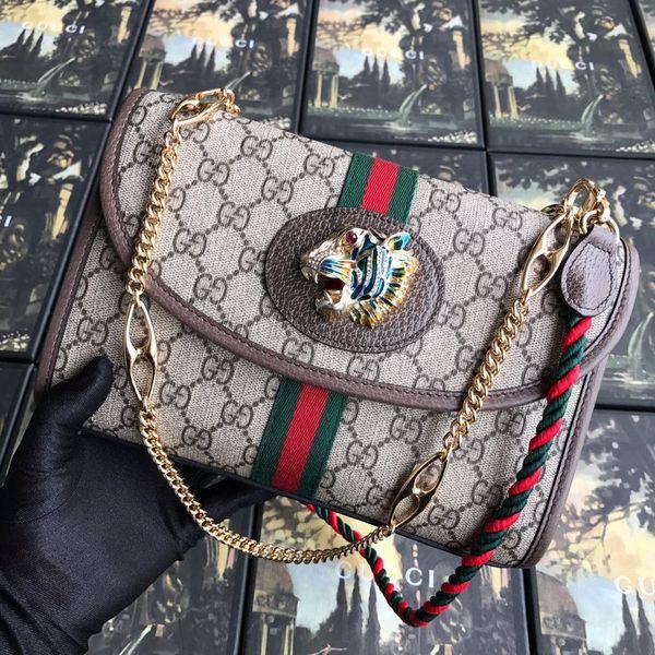 2019 2G Un sac à bandoulière pour femme tigre en cuir de vache noir et rouge, Sac à main de petite taille avec chaîne en or