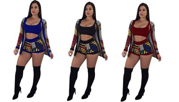Designer 2019 fashion outdoor shorts three-piece classic print sexy vest ladies suit 9120