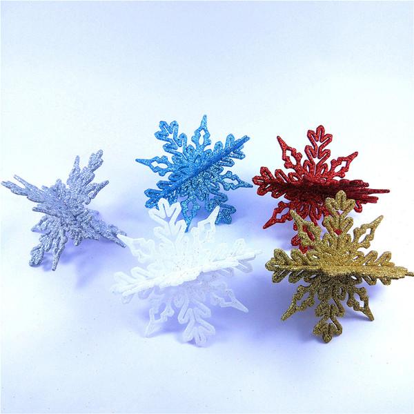 10cm Glitter Fake Snowflake Charming White Christmas Tree Decoration Wedding Decoration Plastic Ornament For Frozen Party