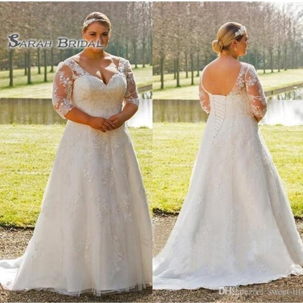 best selling 2019 Simple Long White Lace A-Line Bride Dress Sexy Plus Size Evening Wear with Half Sleeves Formal Gown High-end Wedding Boutique