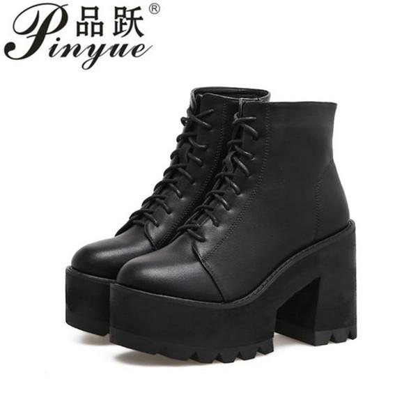 2019 mode épais bottes à talons cheville femmes hauts talons automne hiver femme chaussures bottes noires plate-forme chaussures lace up
