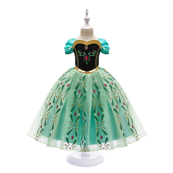 best selling Princess Dress for Girl Snow Queen 2 Short Sleeve Snowflake Sash Cosplay Fancy Costume Halloween Pageant Party Clothes Kids Green Clothing