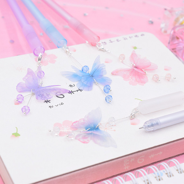 1PC Kawaii Crystal Gel Pens Cute Butterfly Pens Pendant Neutral For Kids Gift School Office Supplies Stationery