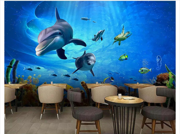 Custom Photo Wallpaper For Walls 3d Murals Wall Paper Hd Deep Sea Underwater World Restaurant Dining Hotel Bar Background Papel De Parede Free Hd