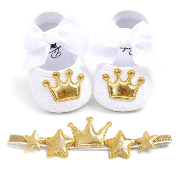 Lovely Newborn Toddler Kids Baby Girl Bow Crown Soft Crib Sole Shoes+Hairband