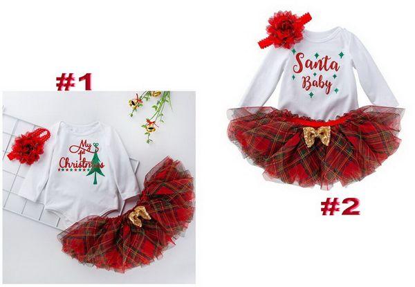 Baby Cotton Weihnachten Strampler Spitzenkleid Kinder Langarm-Body + Blumenstirnband 3pcs gesetzte Baby Weihnachten Kleidung 0-24 M