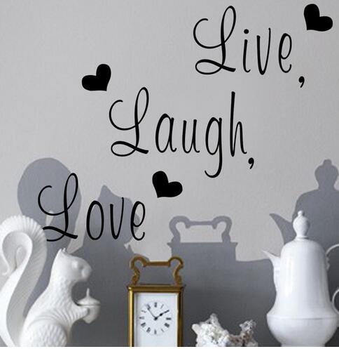 Live Laugh Love Quote Adhesivos de pared Decoración para el hogar Art Decal Sticker Adhesivos Cita Diciendo palabras Frases Wall Sticker Wallpaper
