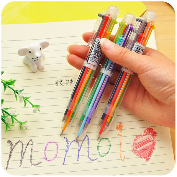 18Pcs/Lot Novelty Multicolor Ballpoint Pen 0.5mm Multifunction 6 in 1 Writing Pens Colorful Stationery Office School Supplies