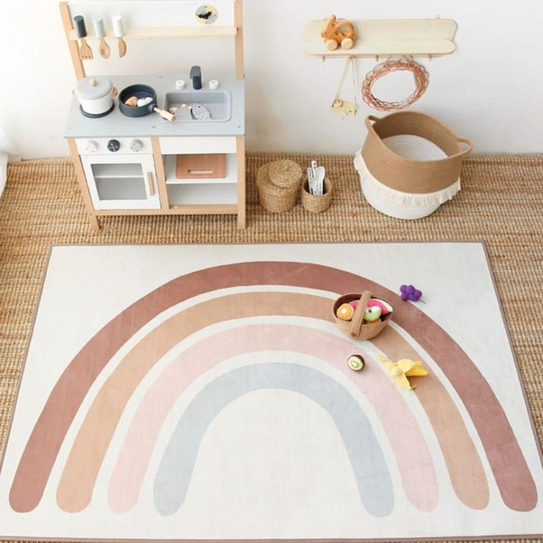 best selling Baby Rainbow Playing Mats Kids Rug Floor Mat Tapete Tummy Children Playmat Rainbow For Bedroom Rugs Nursery Decor Quarto