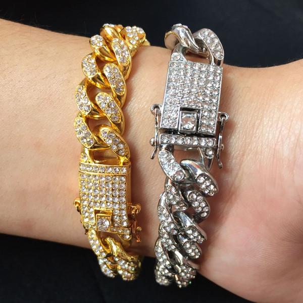Catena a maglia a maglia cubana, bracciale in argento dorato, bracciale in argento a forma di hip-hop, bracciale da uomo