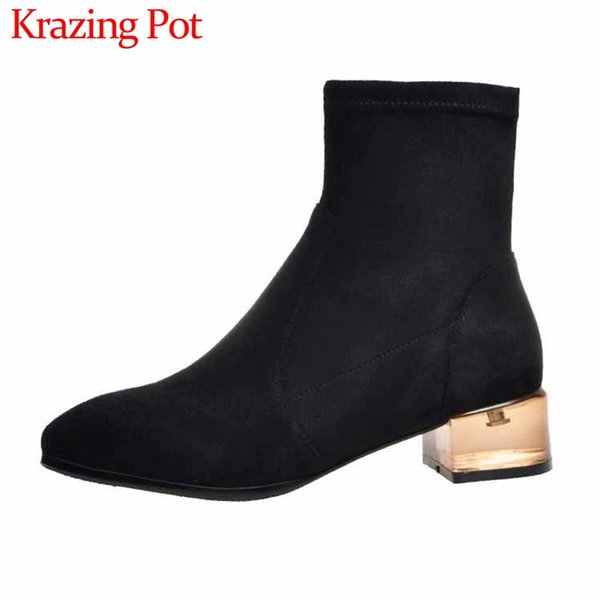 krazing pot crystal heels simple style stretch flock boots square toe med heels winter keep warm women lace up ankle boots l36