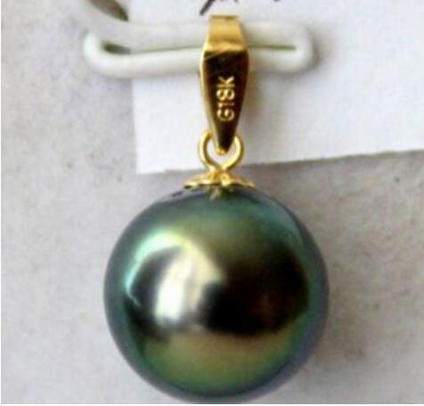 Jewelryr Pearl Pendant noble joyería impresionante Tahitian 13-14mm Tahitian negro verde perla colgante Envío Gratis