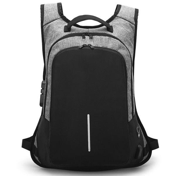 Diebstahlsicherung Rucksack Männer USB Gebühr Laptop Rucksack Wasserdichte Mode Männlich Geschäftsreisen Rucksäcke Herren Schultaschen
