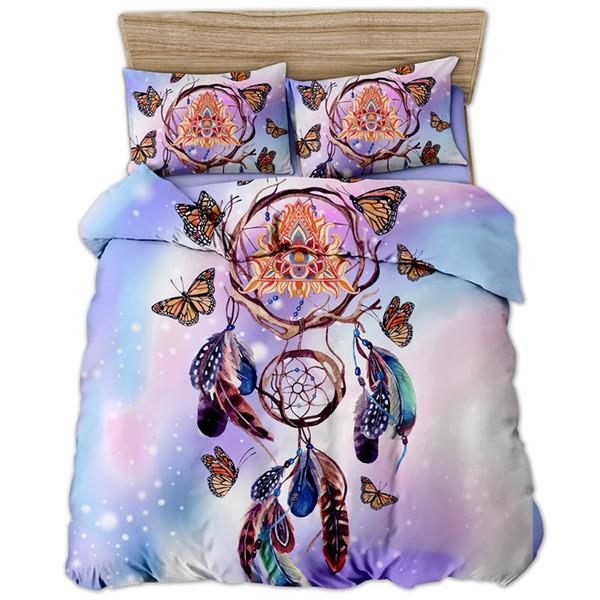 Fanaijia Pink Dreamcatcher Juego de cama King Size Funda nórdica de mariposa de color y con funda de almohada Colcha bohemia
